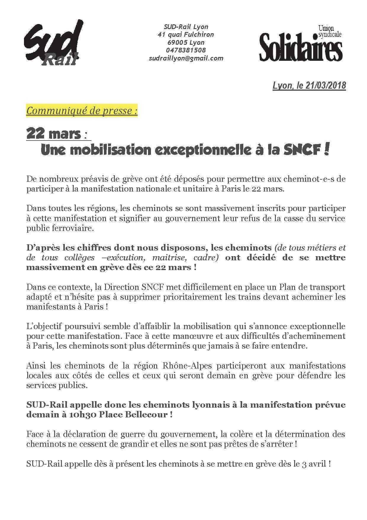grève paris 22 mars 2018